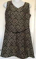 MONSOON SIZE 22 JACQUARD BLACK AND GOLD PARTY COCKTAIL DRESS, BNWT, RRP 135 EURO