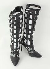 Diba NEW Sz 7M Black Faux Leather Tall Cage High Heel Boots EB218