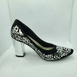 "Women's Black floral platform 3""1/2  high heel dress shoe Luxury Hand made sz6.5"