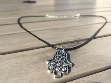 Hamsa Pendant Necklace Hand of Fatima Kabbalah Spiritual Silver Leather cord