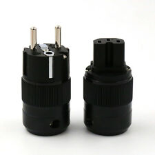 High End Rhodium Plated EUR Schuko EU Power Plug & IEC Connector plug
