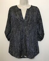 41 Hawthorne Medium Blouse Navy Blue & Beige Dots Long Sleeve Relaxed Tunic Top