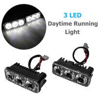 2X 3 LED Daytime Running Lights Car Driving DRL Fog Lamp Light Super White 12V