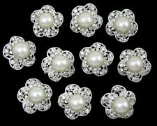 Wholesale 10pcs Faux Pearl Crystal Rhinestone Brooch Pin Wedding Bridal Bouquet