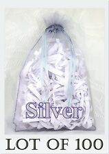 100 LARGE Organza Bag SILVER Pouch Reception Jewellery Party Favor Shop 11x16 cm