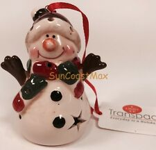 Christmas Ornaments LED Light Up White Snowman Green/Red Scarf Red Hat New