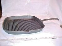 "Cast Iron Grill Square Pan 1 Handle 1 SIDE SPOUT  11 3/8""  W X 17 5/8""  W/HANDLE"