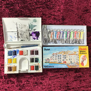 LOT OF USED PENTEL & WINSOR & NEWTON WATER COLORS SETS