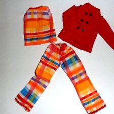 """Clone Darci Tammy BRIGHT ORANGE PLAID SLACKS TOP  Maxi Mod  FiT 12"""" doll 1970s"""