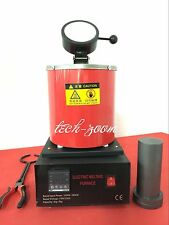 Automatic 2kg Melting Furnace 2Kilo Silver Gold Pour Bar w/ Graphite Crucible t