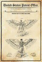 Ee.uu. Patent Maquina de Volar Volador Máquina 1889 Letrero Metal Tin Sign 20 X