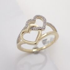 Womens 14K Yellow Gold Double Heart Ring with Diamonds