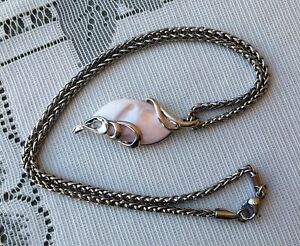 """Tina Maries Jewelry Pink Shell Pearl Pendant & Stainless Steel 18"""" Necklace"""