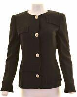 GAI MATTIOLO Womens 4 Button Blazer Jacket UK 12 Medium Black Acetate  MY10