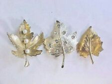 Brooches Lot of 3 Leaves One has Rhinestone One has Faux Pearls One Goldtone