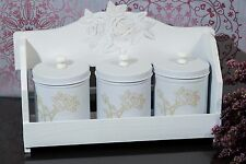 Shabby Chic Wooden Wall Mounted Kitchen Spice Rack Roses Three Tins White Vintag