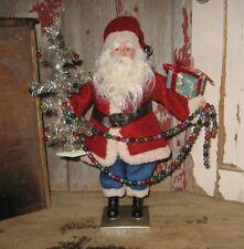 SANTA CLAUS Figurine*Red Suit*Tinsel Christmas TREE*Primitive Farmhouse Decor