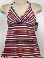 Red Stripe Halter Tankini Top padded swim bathing suit swimwear Mossimo XSmall