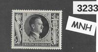 #3233   MNH stamp Sc B231  Adolf Hitler 1943 Birthday WWII Germany Third Reich