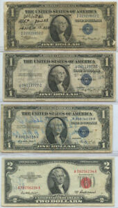 4 pc. 1935 Silver Certificates and 1953 $2 United States Note Military Signed