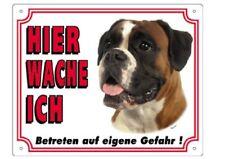 """Warnschild 25 x 20 cm """"Hier wache ich"""" Au�Ÿenbereich Hunderassen Warntafel Hund"""