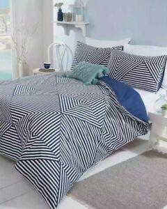 Gorgeous Devon Striped Geo Navy Luxury King Size Bedding Pillowcase Duvet Cover