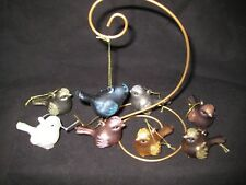 Sage & Co Set of 8 Blown-Glass Bird Ornaments w/ Box and Hanging Ties