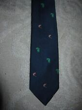 Brooks Brothers boys' navy blue poly neck tie w cat & mouse embroidered designs