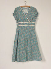 Ness Women Dress Size 10 Green Floral V Neck Pockets Midi Short Sleeve Land Girl