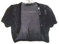One Size - Black Crocheted netted Cropped Bolero Shrug Jacket w/Black Sequins