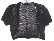 Black Crocheted Netted Cropped Bolero Shrug Jacket with Black Sequins One Size