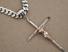 Men's Rhodium Plated 36in Long Cuban Curb Chain & 2 Tone Pink Cross Charm Set