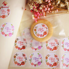 120Pcs Round Thank You Label Flower Seal Adhesive Sticker Packaging Tag Decor