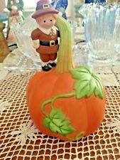 "Vintage 1990 Avon Pilgrim On A Pumpkin Thanksgiving Bell 4 1/2"" Tall"