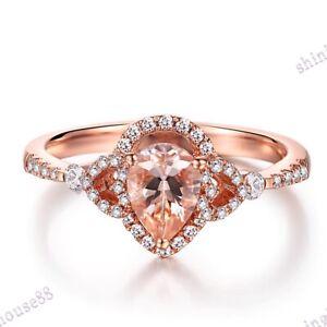Solid 14k Rose Gold Pear 7x5mm Pink Morganite Natural Diamond Fine Gemstone Ring