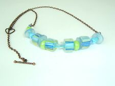 Blue Green Striped glass bead Necklace recycled Vtg Buttons unique handmade Boho