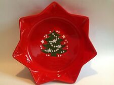 """Waechtersbach W. Germany Christmas Tree 10"""" Serving Dish Bowl 7 Point Star Red"""