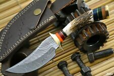 Custom Damascus Steel Hunting Knife Handmade With Stag Horn Handle (Z251)