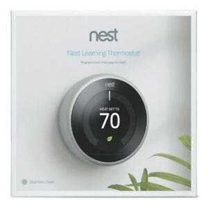 Sealed! Google Nest 3rd Gen Learning Thermostat T3007ES Stainless Steel