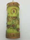 """Vintage Jasco Christmas Candle Green and Gold 6"""" tall"""