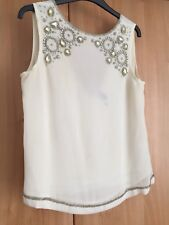TOPSHOP embellished Top - V Neck Back - Size 10