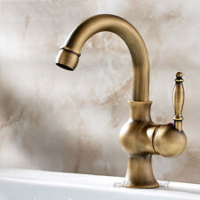 Antique Brass Bathroom Basin Faucet Swivel Spout Single Handle Sink Mixer Tap