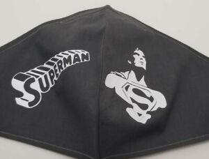 Homemade Face Mask Black with Vinyl Superman Logo New Large
