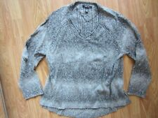 WOMENS STYLE & CO. LONG SLEEVE TWO TONE GRAY V NECK SWEATER LARGE L WARM COZY
