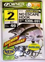 Owner 4306-091 Size 2 46 pk Salmon/Steelhead No Escape Barbless Black Hooks
