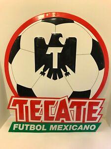 RARE TECATE FUTBOL MEXICANO Cerveza Beer Soccer Tin Advertising Bar SIGN