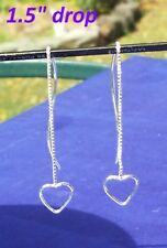 "Sterling Silver 925 Heart Threader Curved Dangle Earrings 1.5"" Drop"
