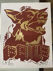 FAILE DOG RED GOLD 2018 print Signed Stamped graffiti icon german shepard banksy