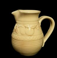 Vintage Yellow Ware /  Stoneware Pitcher With Fruit Motif