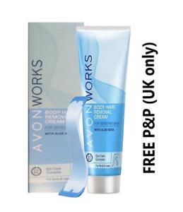 AVON WORKS Body Hair Removal Cream Aloe Vera SENSITIVE SKIN 100ml **FREE P&P**